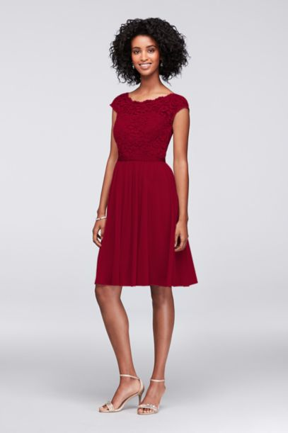 Short Lace and Mesh Dress with Illusion Neckline - Davids Bridal