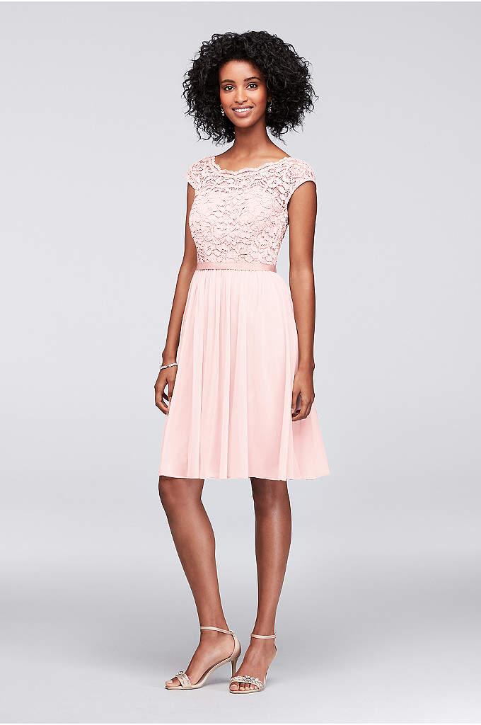 Short Lace and Mesh Dress with Illusion Neckline - This beautiful lace dress is perfect for a
