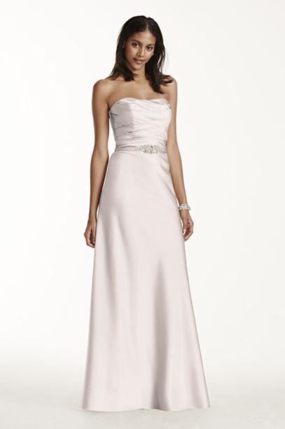 Strapless Long Satin Dress with Crystal Belt | David's Bridal