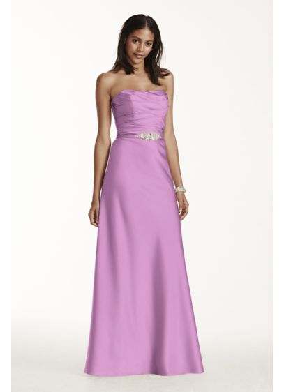 Long Red Structured David's Bridal Bridesmaid Dress