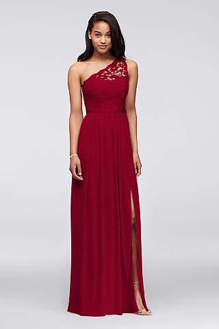 Vestido Largo de Encaje de Un Hombro Para Dama de Honor