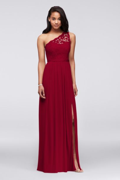 Long One Shoulder Lace Bridesmaid Dress - Davids Bridal