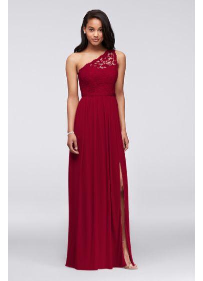 Long one shoulder lace bridesmaid dress davids bridal for One shoulder long sleeve wedding dress