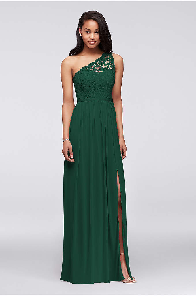 Long One Shoulder Lace Bridesmaid Dress - One shoulder lace and mesh dress. Illusion one