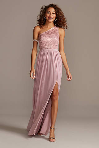Rose gold bridesmaid dresses davids bridal soft flowy davids bridal long bridesmaid dress junglespirit Image collections