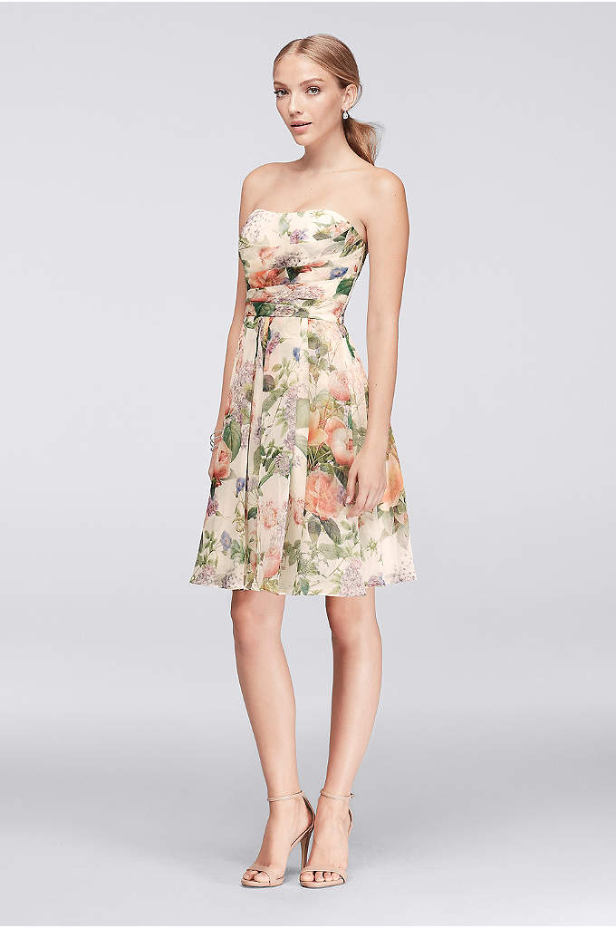 Short Strapless Printed Crinkle Chiffon Dress - The beautifully blooming floral print of this strapless
