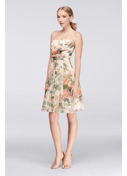Short strapless printed crinkle chiffon dress david 39 s bridal David s bridal strapless wedding dress