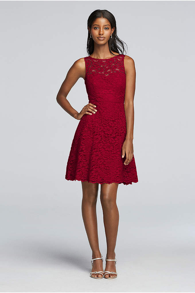 Short Sleeveless All Over Lace Bridesmaid Dress - The illusion lace neckline adds a cool cutout