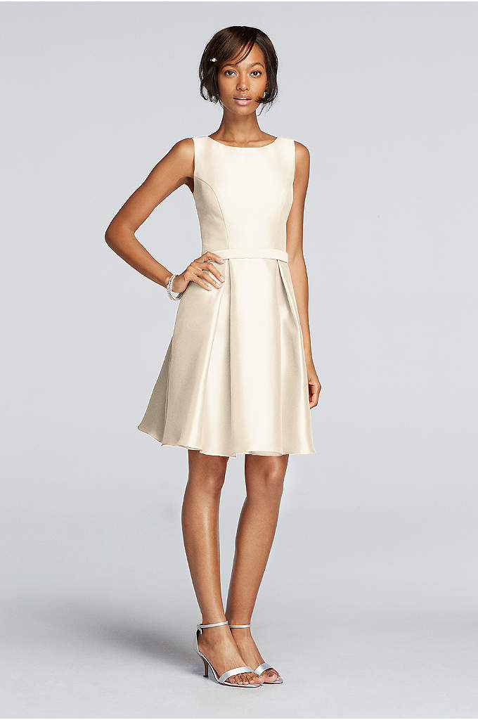 Short V-Back Mikado Dress with High Neckline - A structured top and pleated skirt make this
