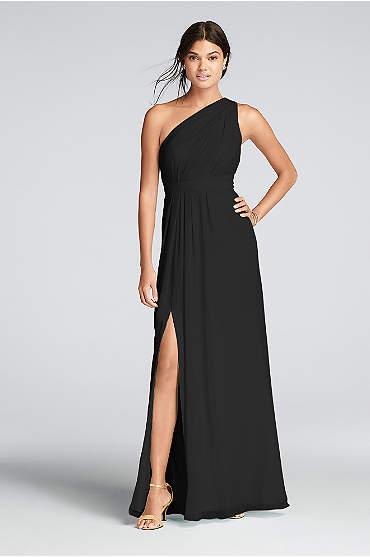 Long One-Shoulder Crinkle Chiffon Dress