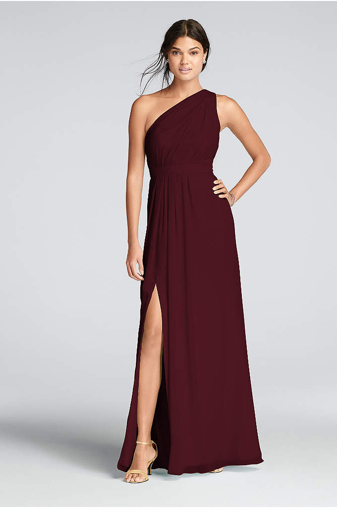 Long One-Shoulder Crinkle Chiffon Dress - You'll love the feel of crinkle chiffon on