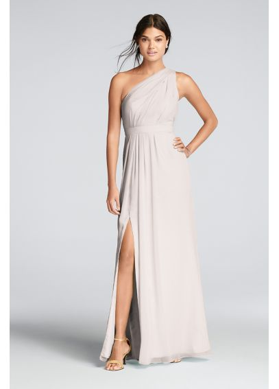 Long Chiffon Dress with Asymmetric Neckline F18055