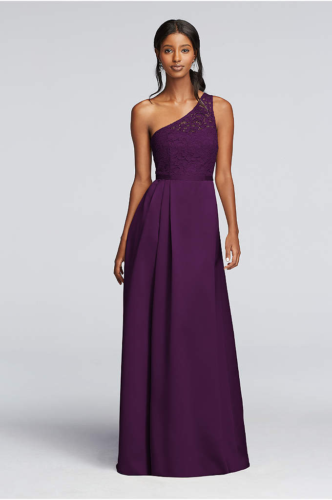Long Illusion Lace and Satin Dress - The gathered satin skirt on this long one-shoulder