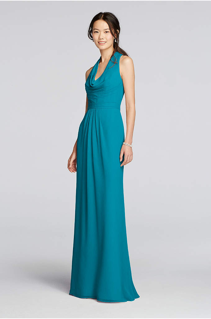 Long Chiffon Dress with Front Cowl Neckline - With a softly draped cowl neck in front