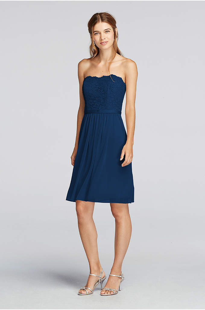Short Scalloped Strapless Lace Mesh Dress - A grosgrain ribbon belt divides the lace bodice