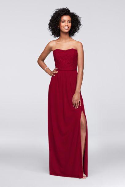 Lace and Mesh Long Strapless Dress   David's Bridal