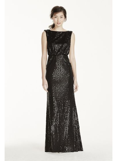 Long Sequin Blouson Dress | David\'s Bridal
