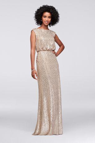 Long Sequin Blouson Dress