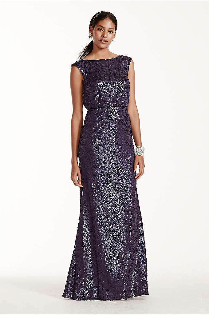 Long Sequin Blouson Dress - This versatile and stunning all-over sequined blouson sheath