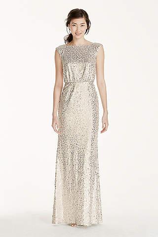 Metallic silver bridesmaid dresses davids bridal soft flowy davids bridal long bridesmaid dress junglespirit Gallery