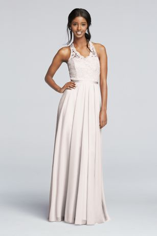 Long Mesh Dress with Lace Halter Bodice Davids Bridal