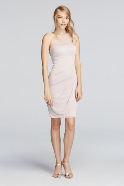Short Illusion One Shoulder Dress | David's Bridal