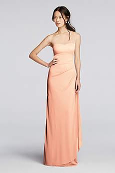 Peach colored bridesmaid dresses davids bridal soft flowy davids bridal long bridesmaid dress junglespirit Gallery