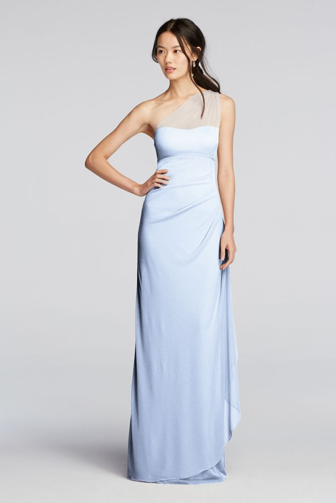 David 039 S Bridal Long Mesh One Shoulder
