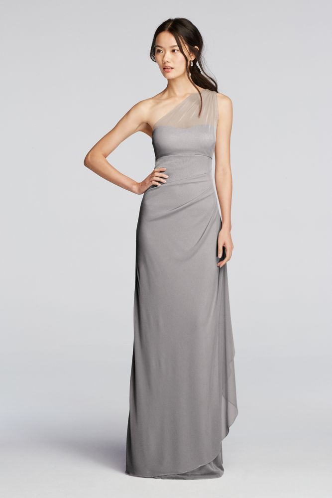 Long Mesh One Shoulder Illusion Dress Style F19074