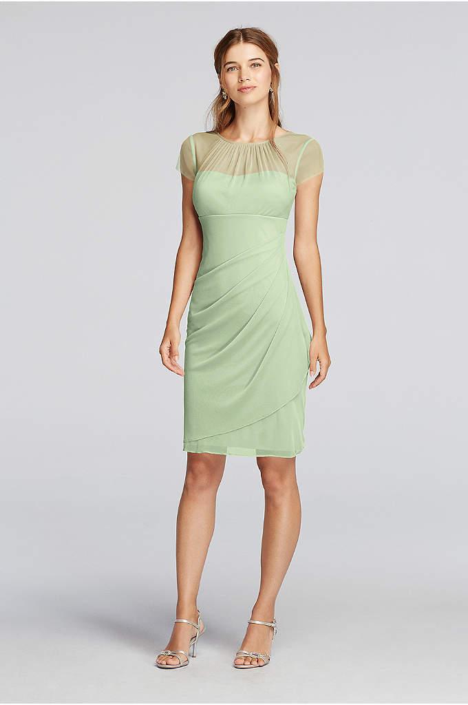 Short Illusion High Neck Cap Sleeve Dress