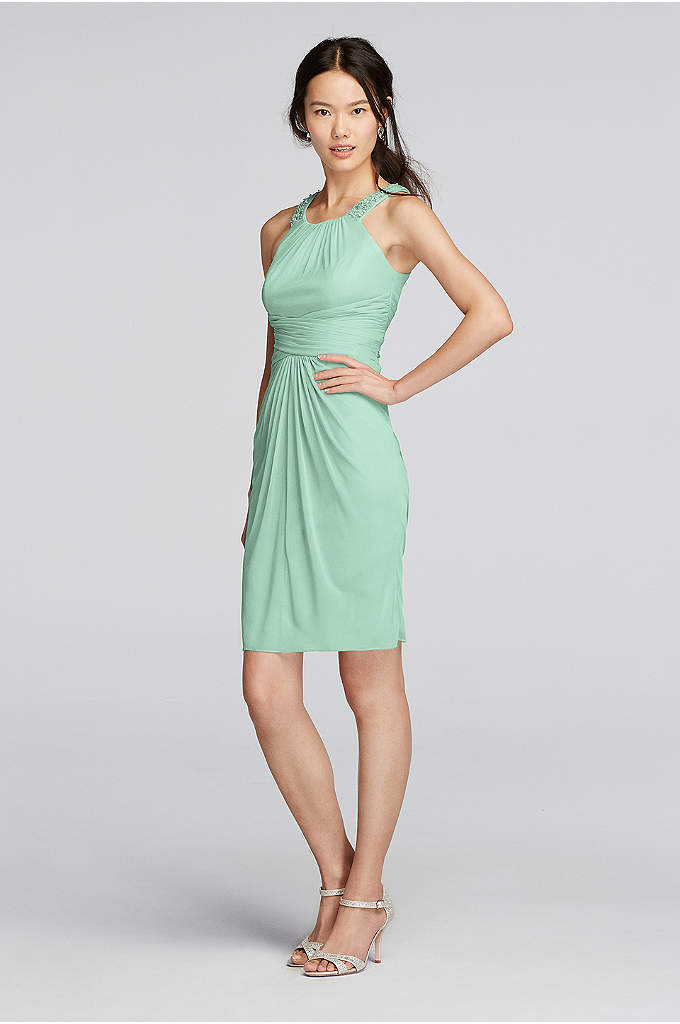 Mesh Dress with High Neck Beading