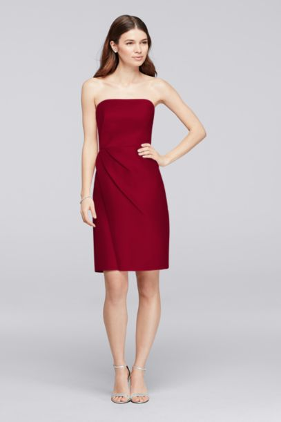 Mikado Short Bridesmaid Dress with Side Pleats | David's Bridal