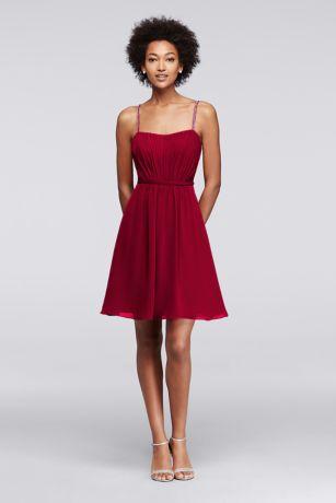 red chiffon short dress