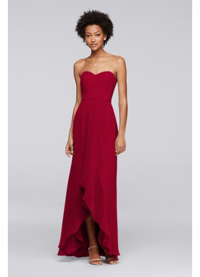 High Low Red Soft & Flowy David's Bridal Bridesmaid Dress