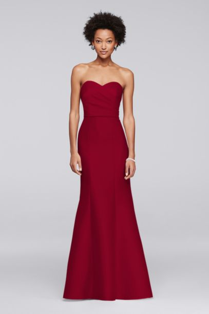Structured Mikado Strapless Long Bridesmaid Dress | David's Bridal