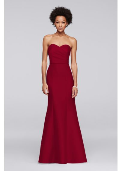 Structured Mikado Strapless Long Bridesmaid Dress F19279