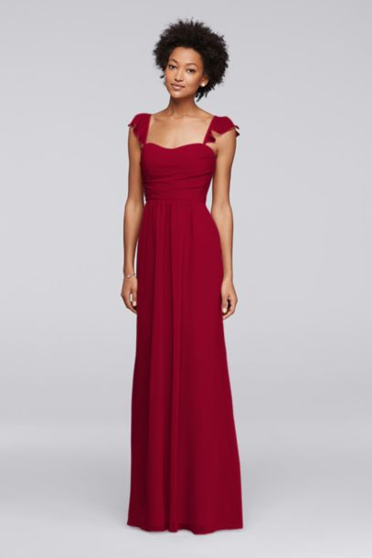 Long Bridesmaid Dress with Flutter Cap Sleeves | David's Bridal