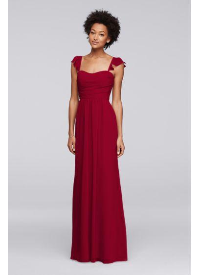 Long Green Soft & Flowy David's Bridal Bridesmaid Dress