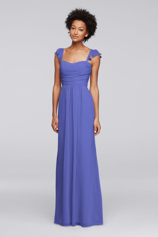 David\'s Bridal Long Bridesmaid Dress with Flutter Cap Sleeves Style ...