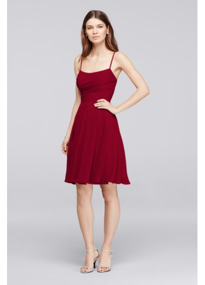 Chiffon Short Bridesmaid Dress with Straps F19304