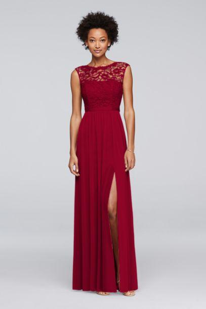 Long Bridesmaid Dress with Lace Bodice   David's Bridal