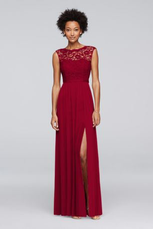 Long Orange Soft U0026 Flowy Davidu0027s Bridal Bridesmaid Dress