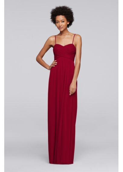 Long Mesh Bridesmaid Dress with Spaghetti Straps F19372