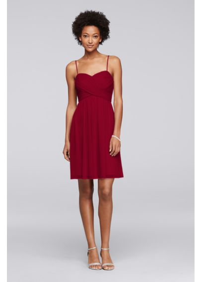 Mesh Short Bridesmaid Dress with Spaghetti Straps F19373