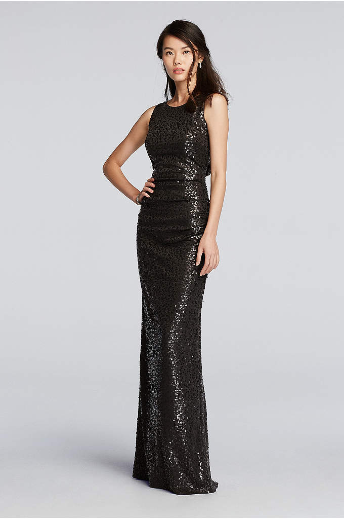 Long Sequin Tank Dress with Cowl Back - Complete your party in head-to-toe sequins with this