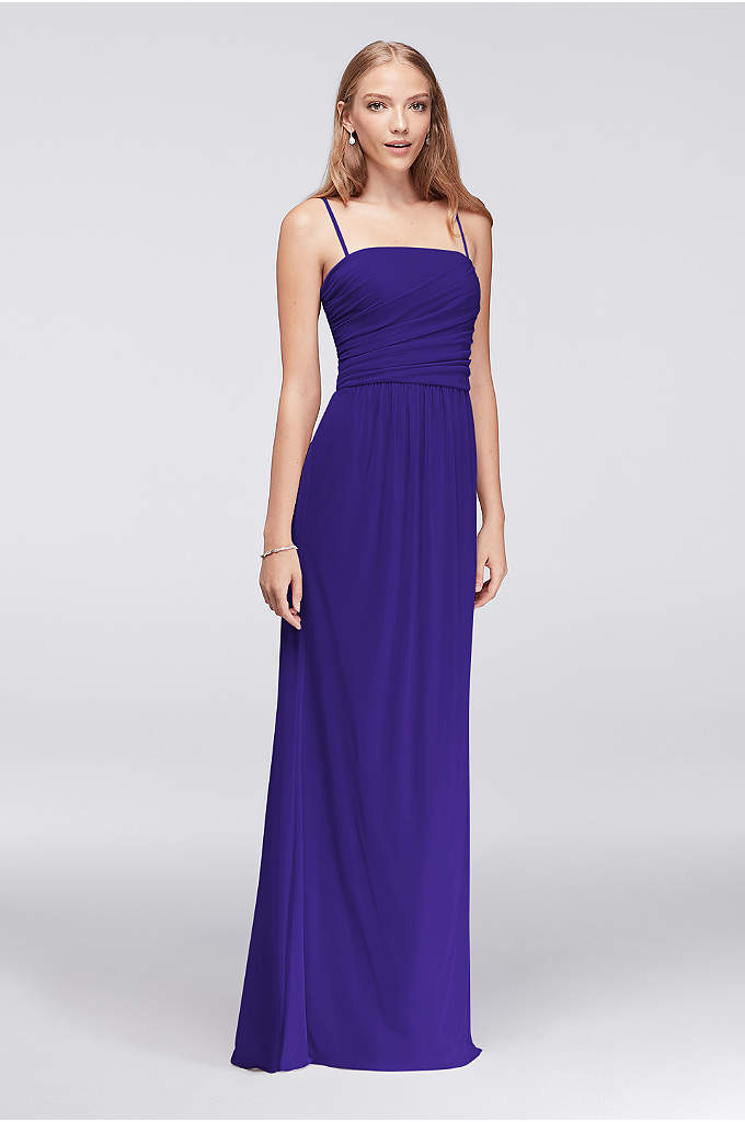 Draped Long Mesh Dress with Spaghetti Straps - The straight-cut bodice of this long, soft mesh