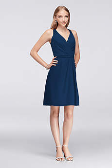 Marine color bridesmaid dress