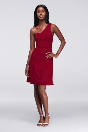 red chiffon short one shoulder dress