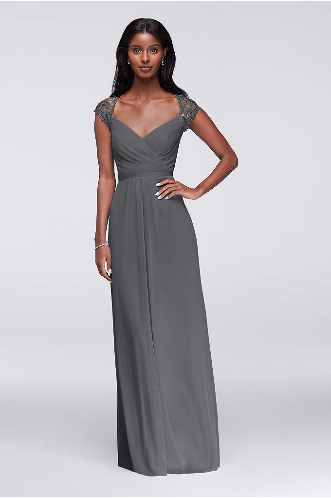 Long Mesh Dress with Lace Cap Sleeves - The bodice of this long mesh bridesmaid dress