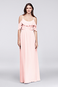 Cold-Shoulder Crinkle Chiffon Bridesmaid Dress in Petal